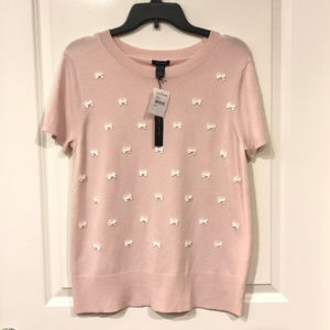 Only Mine Pink Bow Short Sleeve Sweater